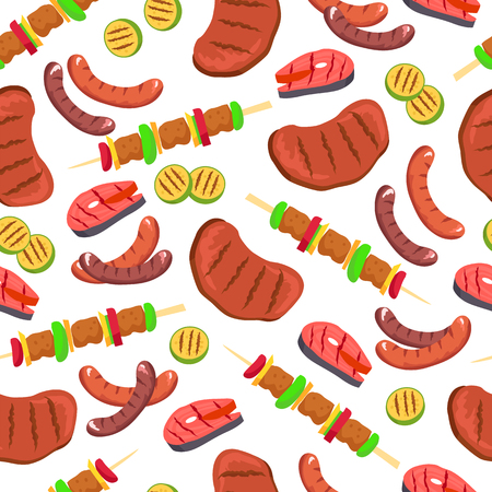 Barbecued Set Seamless Pattern Vector Illustration