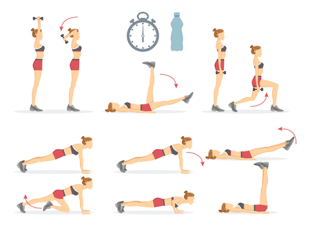 Slow Climbers and Tabata Set Vector Illustration