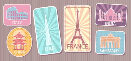Travel Stickers with Famous World Attractions Set