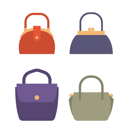 Fashionable Female Bags of Natural Leather Set Stock Illustratie