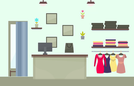 Fashionable Female Clothes Store Interior Design Reklamní fotografie - 103897014