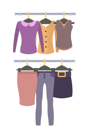 Racks with Top and Bottom Female Garments Set