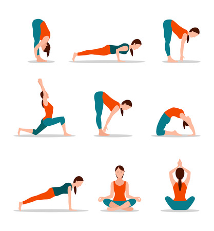 Yoga Positions Collection Vector Illustration Stockfoto - 103897016