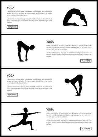 Yoga Female Silhouettes Set, Vector Illustration