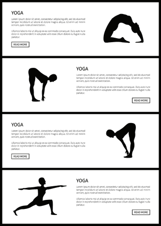 Yoga Female Silhouettes Set, Vector Illustration