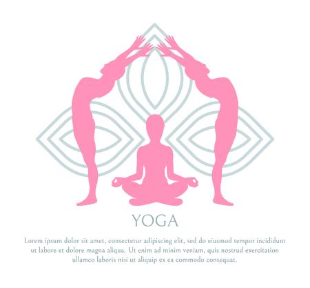 Yoga Abstract Lotus Pattern, Pink Silhouettes Set Illustration