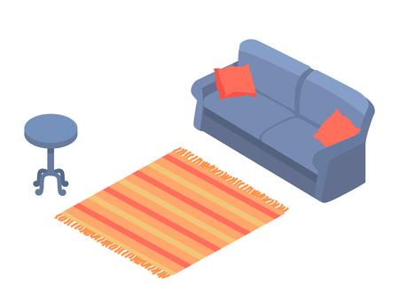 Cozy Bright Room Interior Colorful Vector Template