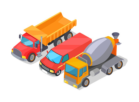 Cement-Mixer and Trucks Set Vector Illustration