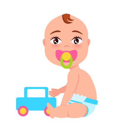 Baby with Soother and Toy Car Vector Illustration