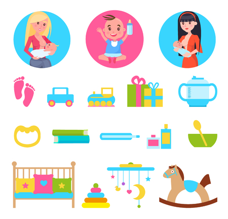 Kid and Breastfeeding, Toys Set Vector Illustration Stock Illustratie