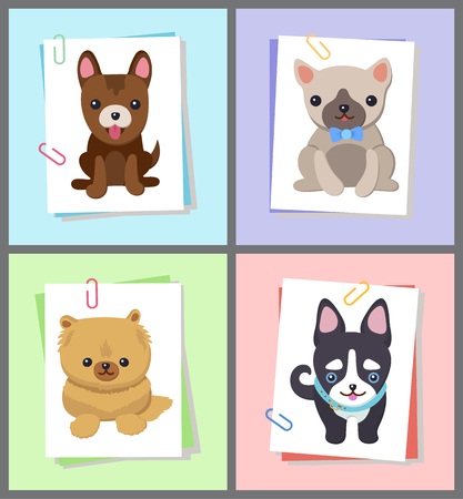 Puppies and Dogs Poster Set Vector Illustration Archivio Fotografico - 103897178