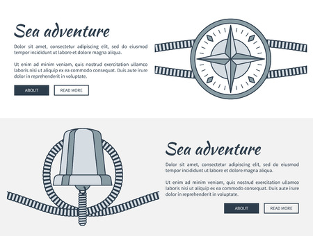 Sea Adventure Web Pages Set Vector Illustration Çizim