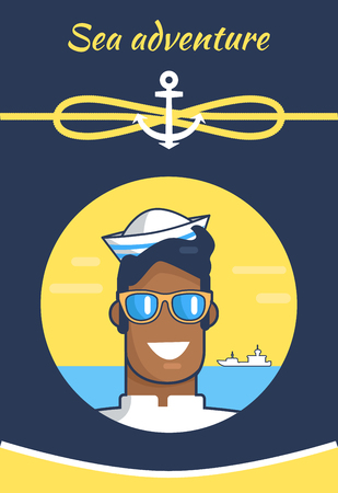 Sea Adventure Colorful Banner with Cheerful Sailor