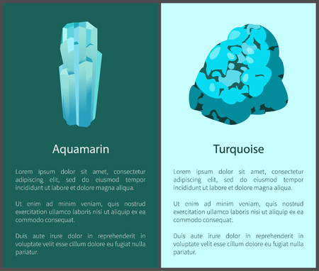 Aquamarine and Turquoise Blue Minerals Posters Set