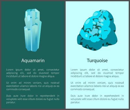 Aquamarijn en turkoois blauwe mineralen Posters Set