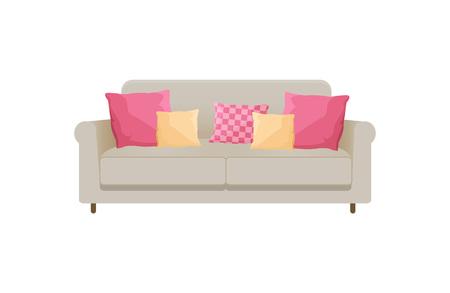 Cozy Sofa with Many Cushions, Vector Illustration