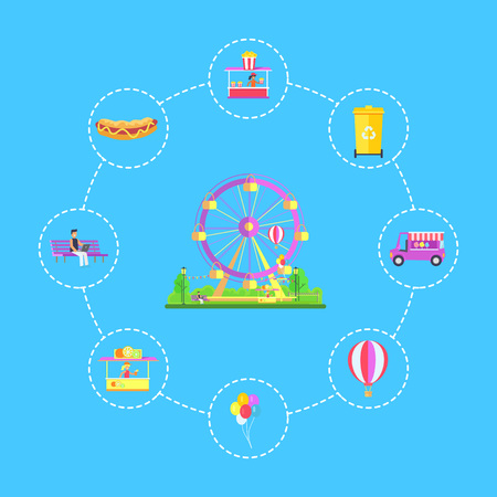 Amusement Park Icons Set, Vector Illustration Illustration