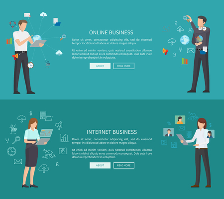Internet Online Business Two Vector Illustrations