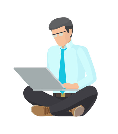 Sitting Man with Grey Laptop, Colorful Poster Archivio Fotografico - 103897248