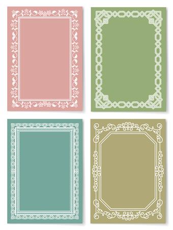 Set of Vintage Frames Decorative Border Corners Çizim