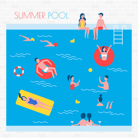 Summer Pool with People and Inflatable Things