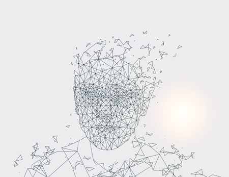 Human Made of Lines, Grey Vector Illustration