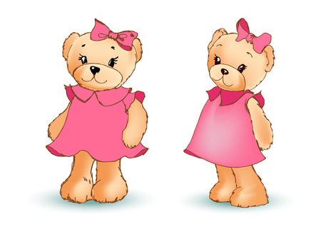 Adorable Toy Bear in Pink Dress with Bow in Head