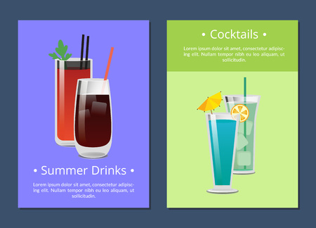 Cocktails Summer Drinks Poster with Bloody Mary Çizim