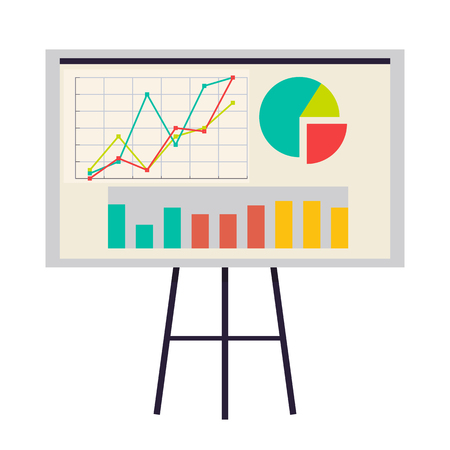 Office Board with Charts and Diagrams Vector Icon