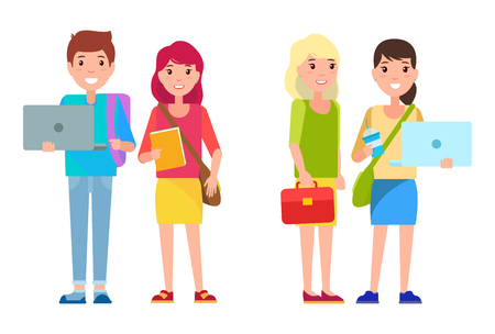 Students boy and girls in cartoon style smiling, woman and man with notebook and refreshing drink, leather case bag, pretty girls college students