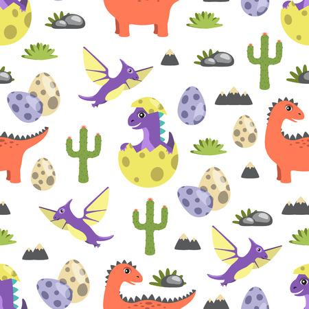 Dinosaur Seamless Pattern Vector Illustration Standard-Bild - 103897290