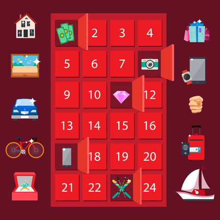 Strongbox and Presents Lottery Vector Illustration Stockfoto - 103897306