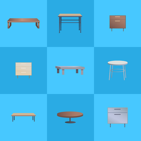 Tables Collection Interior Vector Illustration