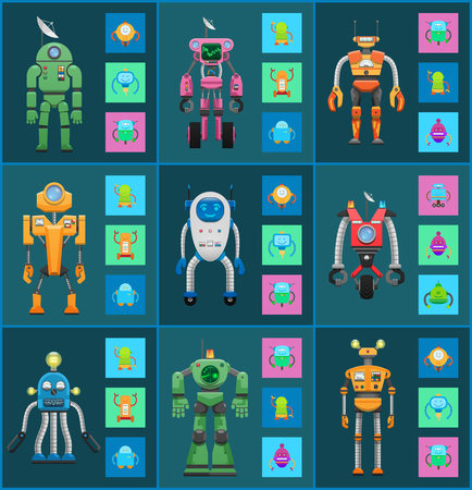 Robot Models Group Isolated on Dark Backgrounds Illustration