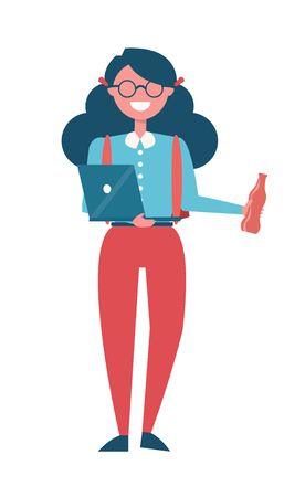 Student Female Girl Laptop and Bottle of Drink