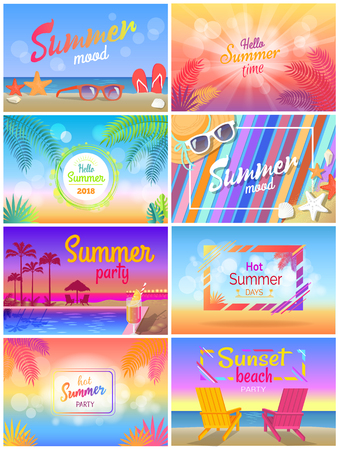 Summer Mood, Beach Party Time, Hello Sunny Day Illustration