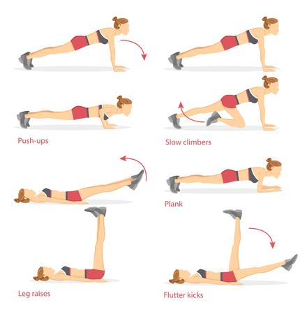 Push Ups and Slow Climbers Vector Illustration Stock Illustratie
