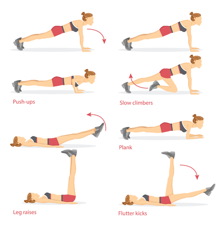 Push Ups and Slow Climbers Vector Illustration Çizim