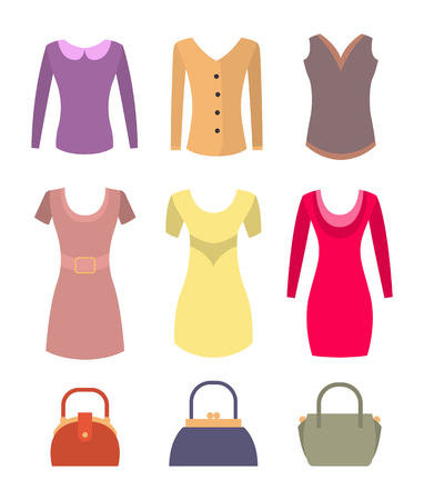 Fashionable Female Clothes and Accessories Set Illustration