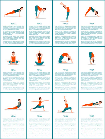 Yoga Set of Different Positions, Colorful Poster Vectores