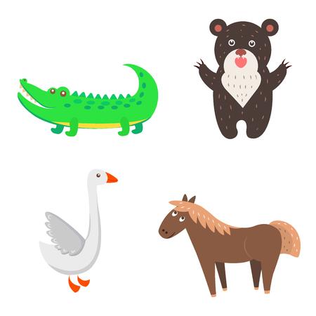 Concept of Goose, Horse, Bear, Crocodile for Kids Illustration