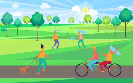 People Having Fun in Park Vector Illustration