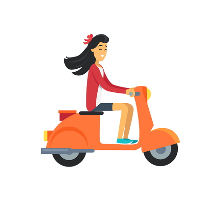 Woman on Scooter Icon Vector Illustration Girl