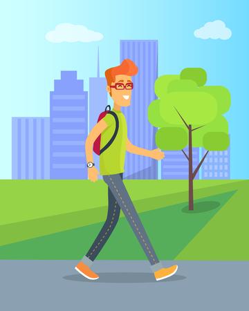 Pedestrian Walking in Park Vector Illustration