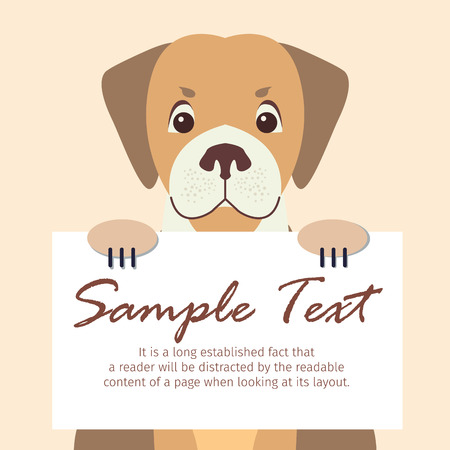 Cute Dog Holding Banner with Sample Text Vector 스톡 콘텐츠 - 103897560