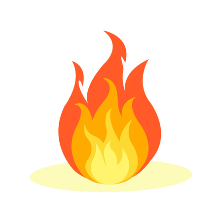 Flat Fire Icon Isolated on White