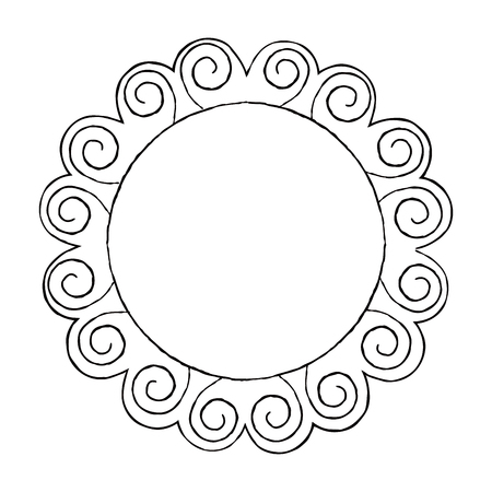Round Doodle Line Art Frame Vector Set Illustration