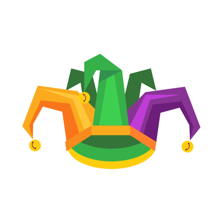 Colorful Jester Hat with Bells Flat Vector