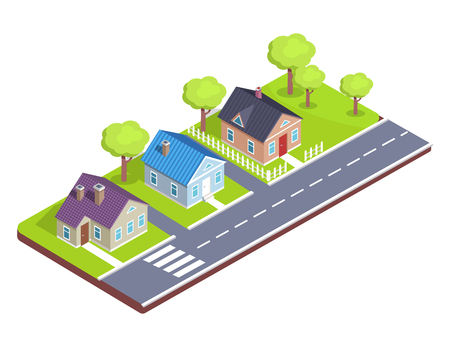 Model of a Cottage Town with Crosswalk, Main Road