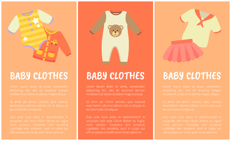 Baby Clothes Three Banners, Vector Illustration
